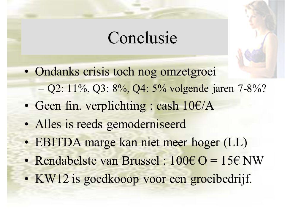 Conclusie Ondanks crisis toch nog omzetgroei –Q2: 11%, Q3: 8%, Q4: 5% volgende jaren 7-8%.