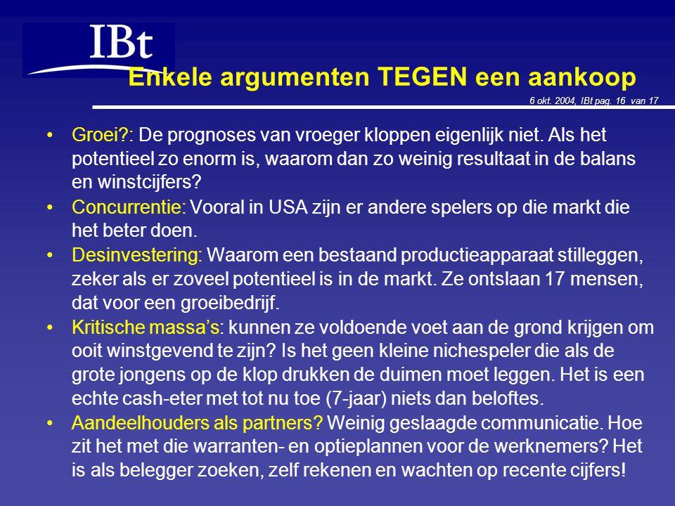 6 okt. 2004, IBt pag. 16 van 17 Enkele argumenten TEGEN een aankoop Groei?: De prognoses van vroeger kloppen eigenlijk niet. Als het potentieel zo eno