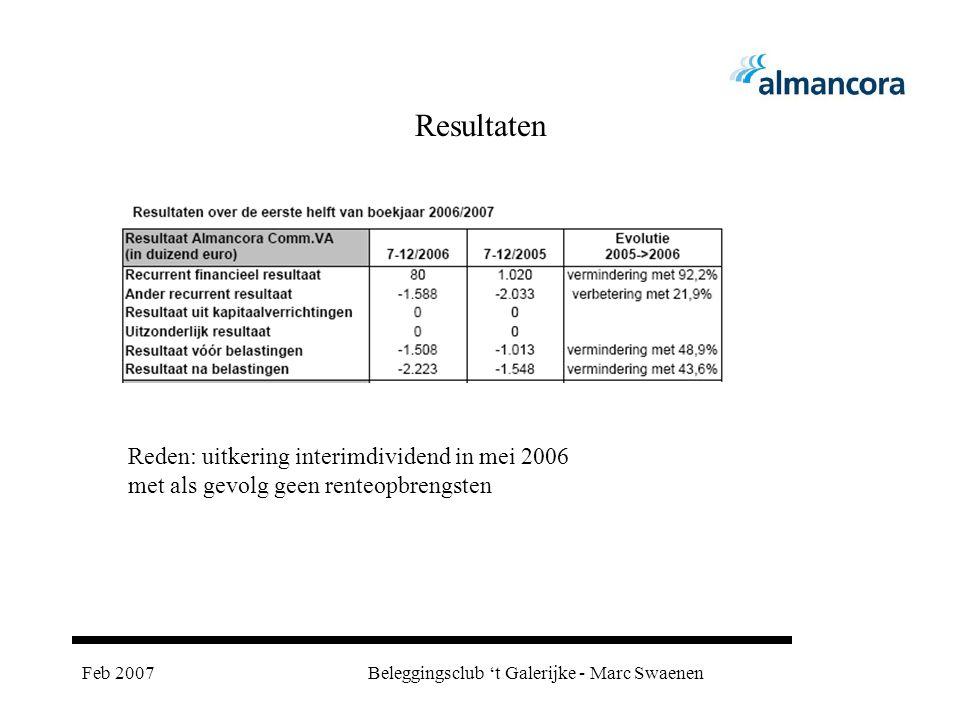 Feb 2007Beleggingsclub 't Galerijke - Marc Swaenen Resultaten Reden: uitkering interimdividend in mei 2006 met als gevolg geen renteopbrengsten