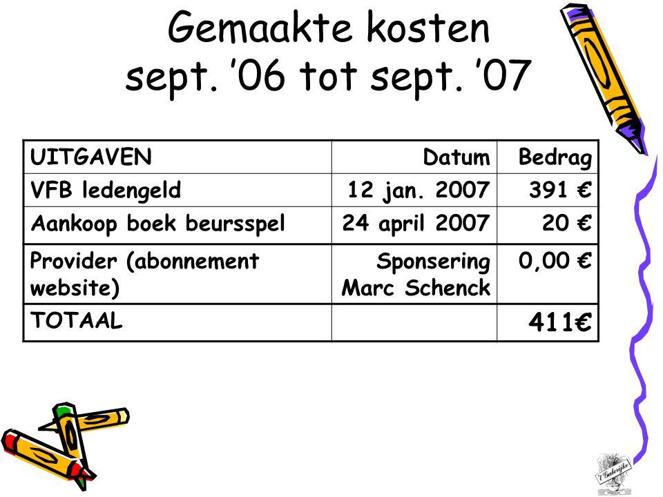 Gemaakte kosten sept. '06 tot sept. '07 UITGAVENDatumBedrag VFB ledengeld12 jan.