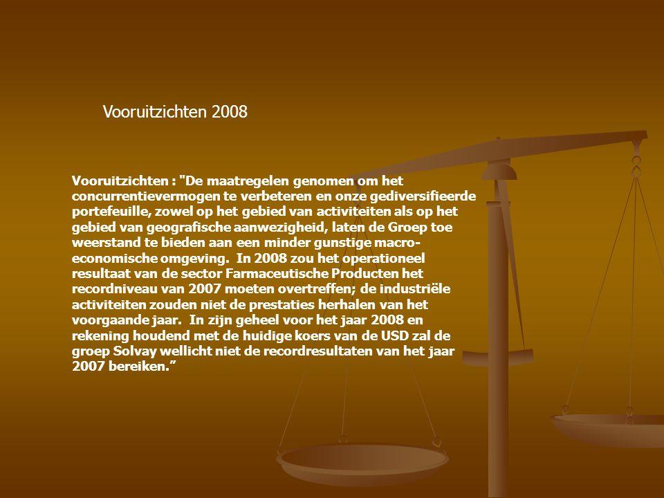 Vooruitzichten 2008 Vooruitzichten : De maatregelen genomen om het concurrentievermogen te verbeteren en onze gediversifieerde portefeuille, zowel op het gebied van activiteiten als op het gebied van geografische aanwezigheid, laten de Groep toe weerstand te bieden aan een minder gunstige macro- economische omgeving.