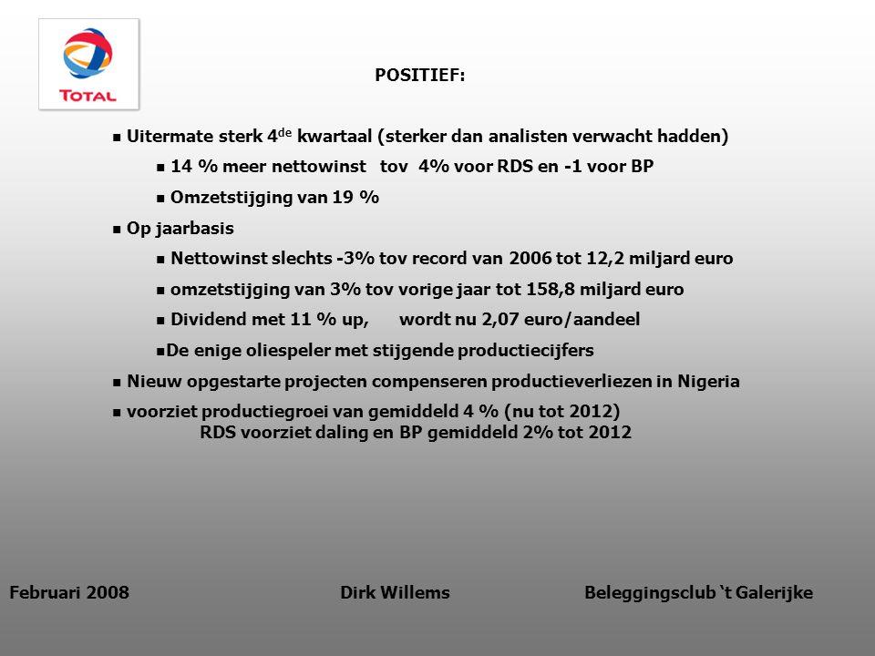POSITIEF: Uitermate sterk 4 de kwartaal (sterker dan analisten verwacht hadden) 14 % meer nettowinst tov 4% voor RDS en -1 voor BP Omzetstijging van 19 % Op jaarbasis Nettowinst slechts -3% tov record van 2006 tot 12,2 miljard euro omzetstijging van 3% tov vorige jaar tot 158,8 miljard euro Dividend met 11 % up, wordt nu 2,07 euro/aandeel De enige oliespeler met stijgende productiecijfers Nieuw opgestarte projecten compenseren productieverliezen in Nigeria voorziet productiegroei van gemiddeld 4 % (nu tot 2012) RDS voorziet daling en BP gemiddeld 2% tot 2012