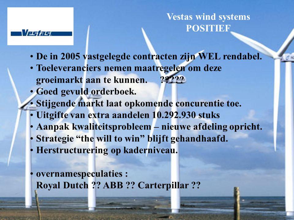 Vestas wind systems POSITIEF De in 2005 vastgelegde contracten zijn WEL rendabel.