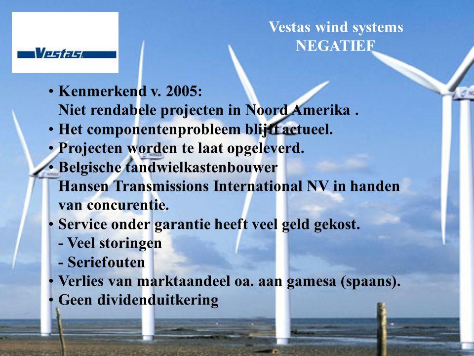 Vestas wind systems NEGATIEF Kenmerkend v. 2005: Niet rendabele projecten in Noord Amerika.