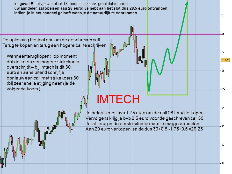 In geval B : als je wacht tot 18 maart is de kans groot dat iemand uw aandelen zal opeisen aan 28 euro.
