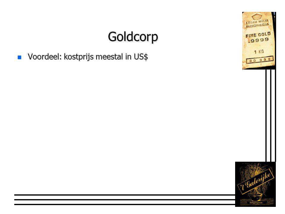 Goldcorp n Voordeel: kostprijs meestal in US$