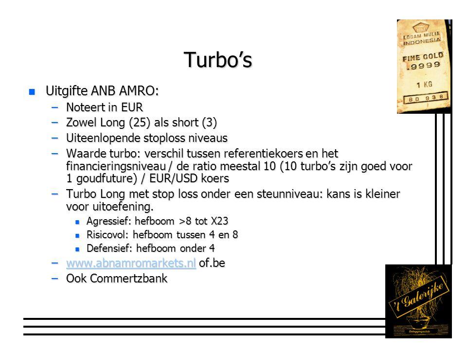 Turbo's n Uitgifte ANB AMRO: –Noteert in EUR –Zowel Long (25) als short (3) –Uiteenlopende stoploss niveaus –Waarde turbo: verschil tussen referentiekoers en het financieringsniveau / de ratio meestal 10 (10 turbo's zijn goed voor 1 goudfuture) / EUR/USD koers –Turbo Long met stop loss onder een steunniveau: kans is kleiner voor uitoefening.