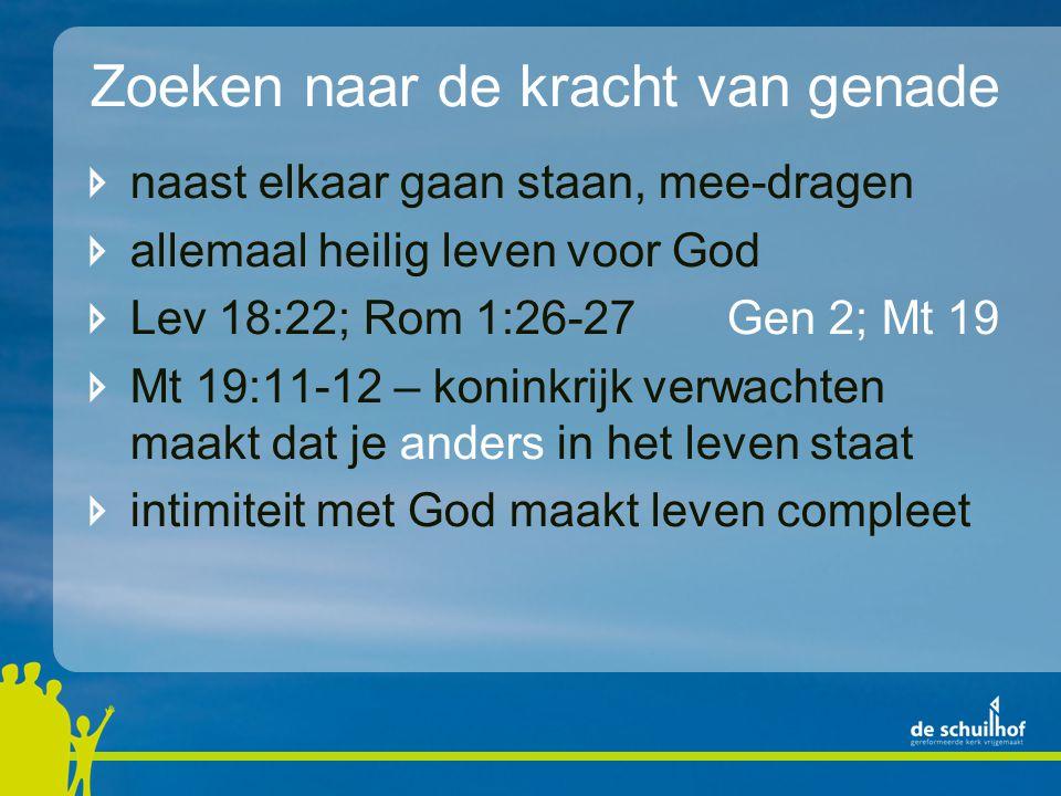 Zoeken naar de kracht van genade naast elkaar gaan staan, mee-dragen allemaal heilig leven voor God Lev 18:22; Rom 1:26-27Gen 2; Mt 19 Mt 19:11-12 – k