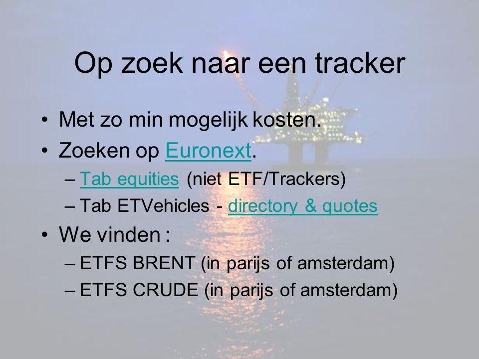 Op zoek naar een tracker Met zo min mogelijk kosten. Zoeken op Euronext.Euronext –Tab equities (niet ETF/Trackers)Tab equities –Tab ETVehicles - direc