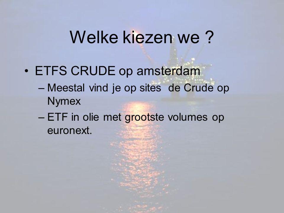 Welke kiezen we ? ETFS CRUDE op amsterdam –Meestal vind je op sites de Crude op Nymex –ETF in olie met grootste volumes op euronext.