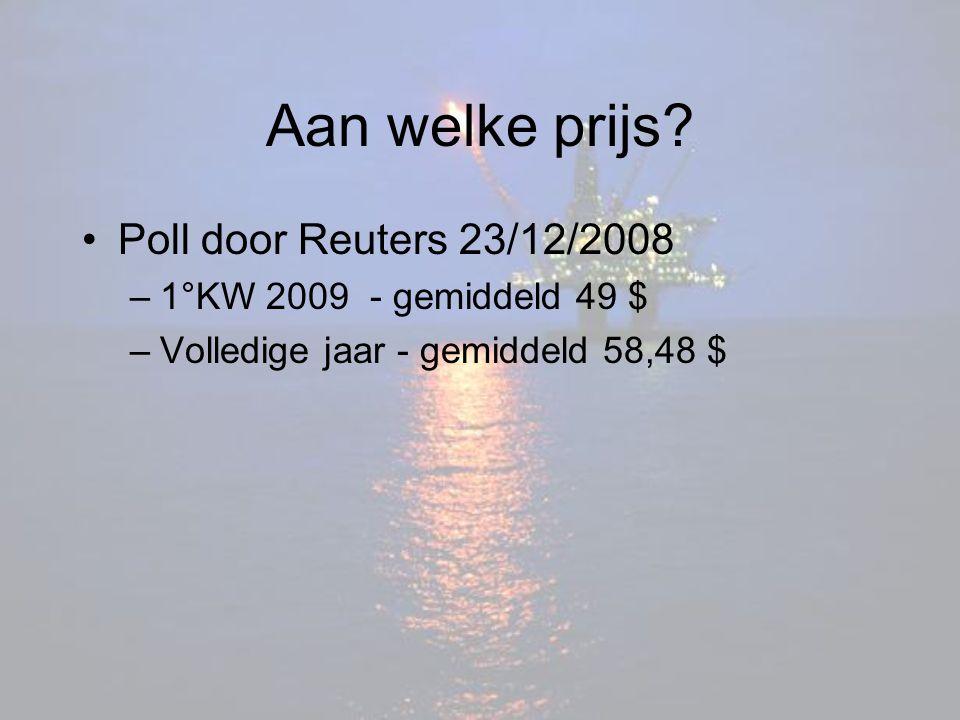 Aan welke prijs? Poll door Reuters 23/12/2008 –1°KW 2009 - gemiddeld 49 $ –Volledige jaar - gemiddeld 58,48 $