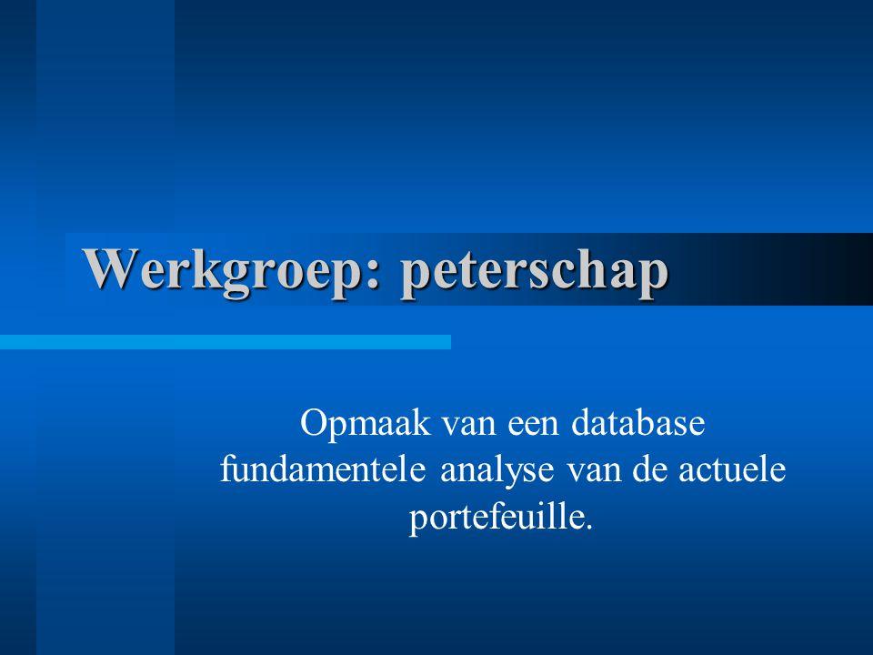 Werkgroep: peterschap Opmaak van een database fundamentele analyse van de actuele portefeuille.