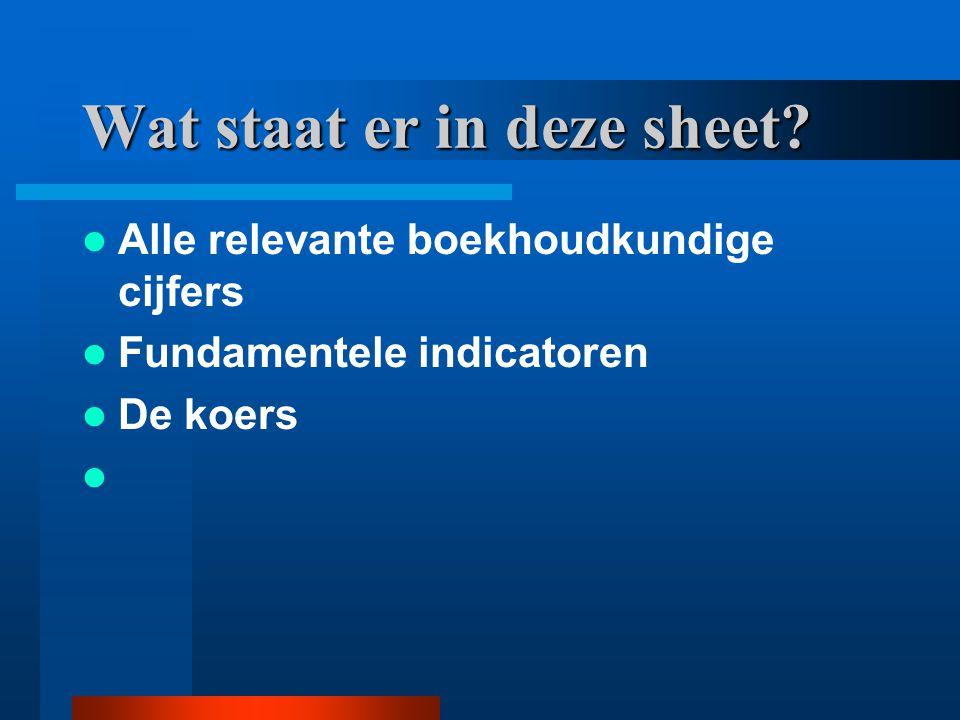 Wat staat er in deze sheet? Alle relevante boekhoudkundige cijfers Fundamentele indicatoren De koers