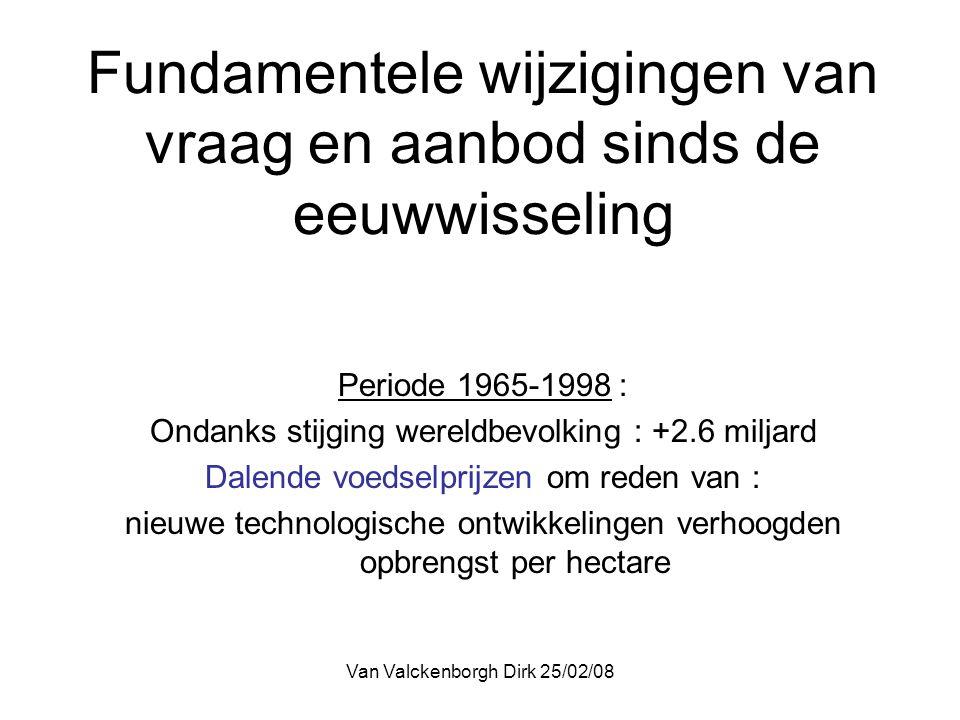 Van Valckenborgh Dirk 25/02/08 Fundamentele wijzigingen van vraag en aanbod sinds de eeuwwisseling Periode na 2000 : stijgende landbouwprijzen om reden van 1.Hoeveelheid landbouwgrond neemt niet meer toe 2.Investeringen in technologische vernieuwingen om rendement te verhogen was (tot op heden ?) niet meer interessant omwille van lage prijzen 3.Stijgende welvaart in groeilanden = verbeterde voedingsgewoonte met een stijgend proteïnegebruik, vleesconsumptie stijgt = verbruik veevoeder stijgt (verhouding 6 kg graan voor 1kg vlees)