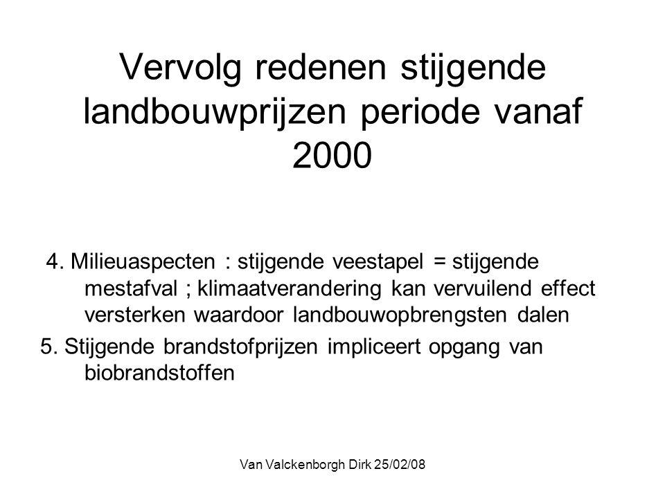Van Valckenborgh Dirk 25/02/08 Vervolg redenen stijgende landbouwprijzen periode vanaf 2000 4.
