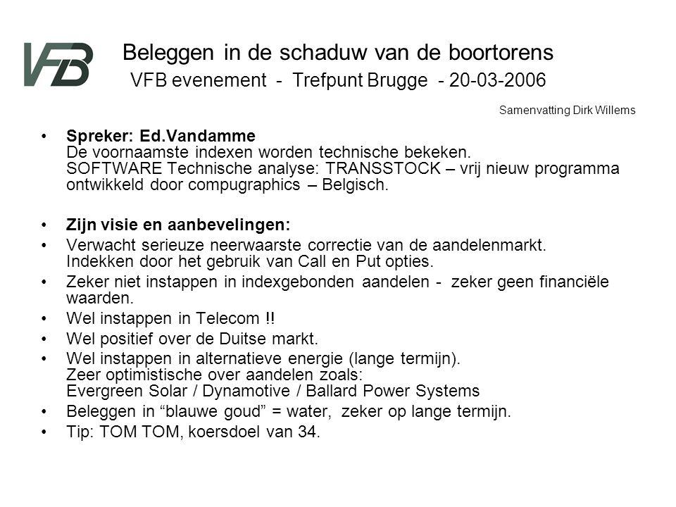 Beleggen in de schaduw van de boortorens VFB evenement - Trefpunt Brugge - 20-03-2006 Spreker: Ed.Vandamme De voornaamste indexen worden technische be