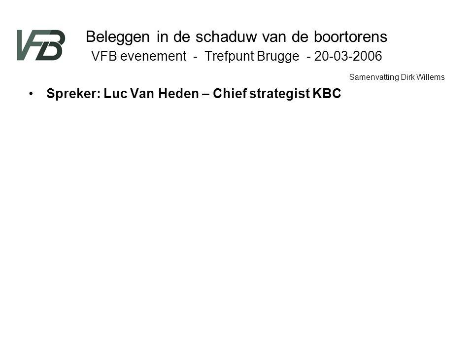 Beleggen in de schaduw van de boortorens VFB evenement - Trefpunt Brugge - 20-03-2006 Spreker: Luc Van Heden – Chief strategist KBC Samenvatting Dirk