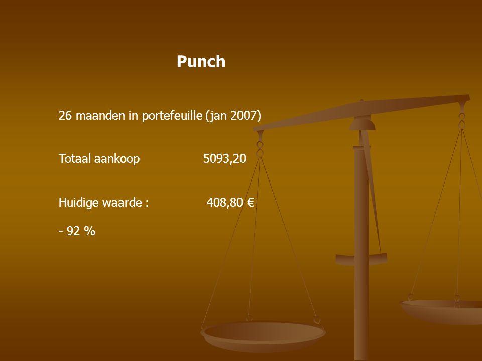 26 maanden in portefeuille (jan 2007) Totaal aankoop 5093,20 Huidige waarde : 408,80 € - 92 % Punch