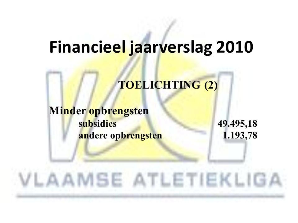 Financieel jaarverslag 2010 TOELICHTING (2) Minder opbrengsten subsidies 49.495,18 andere opbrengsten 1.193,78