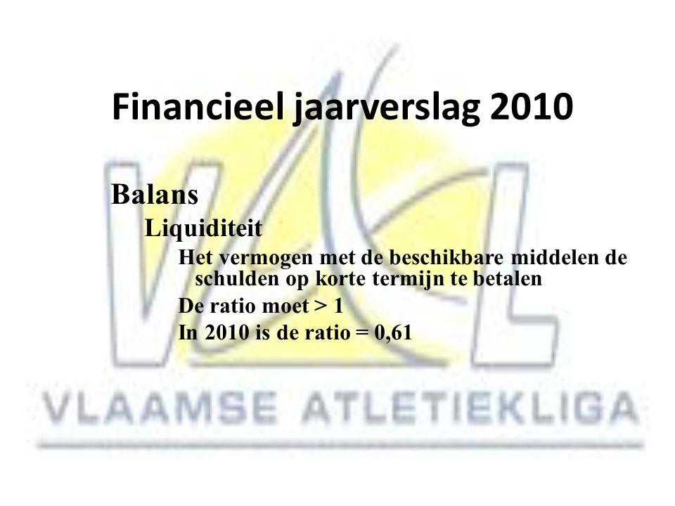 Financieel jaarverslag 2010 Balans Liquiditeit Het vermogen met de beschikbare middelen de schulden op korte termijn te betalen De ratio moet > 1 In 2