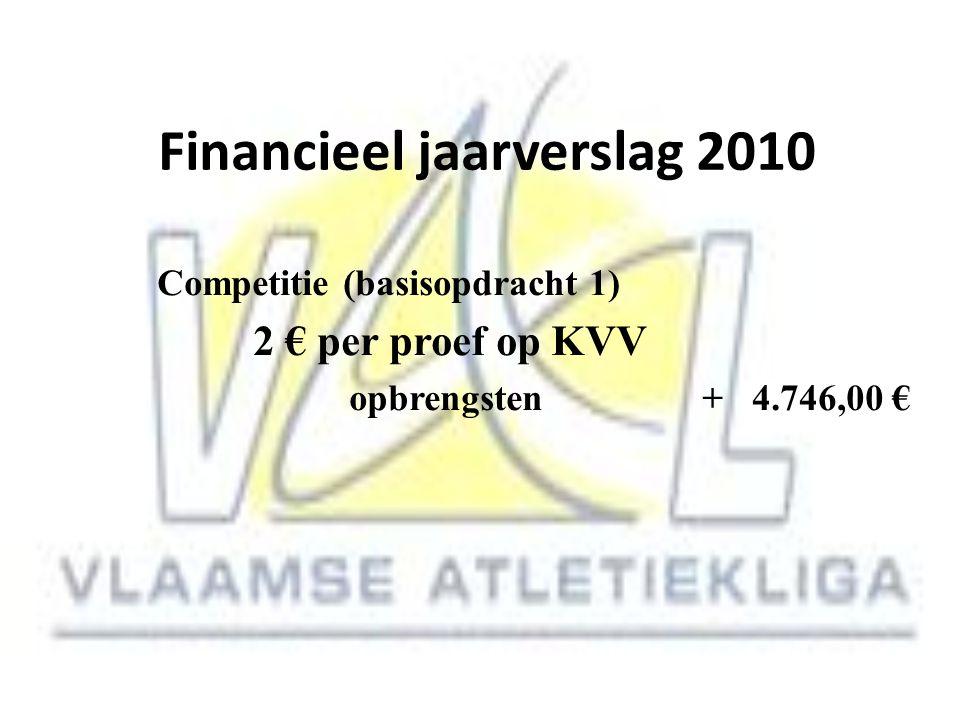 Financieel jaarverslag 2010 Competitie (basisopdracht 1) 2 € per proef op KVV opbrengsten + 4.746,00 €