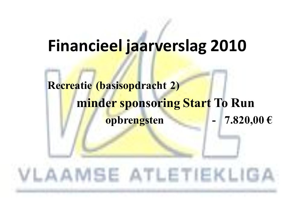 Financieel jaarverslag 2010 Recreatie (basisopdracht 2) minder sponsoring Start To Run opbrengsten - 7.820,00 €