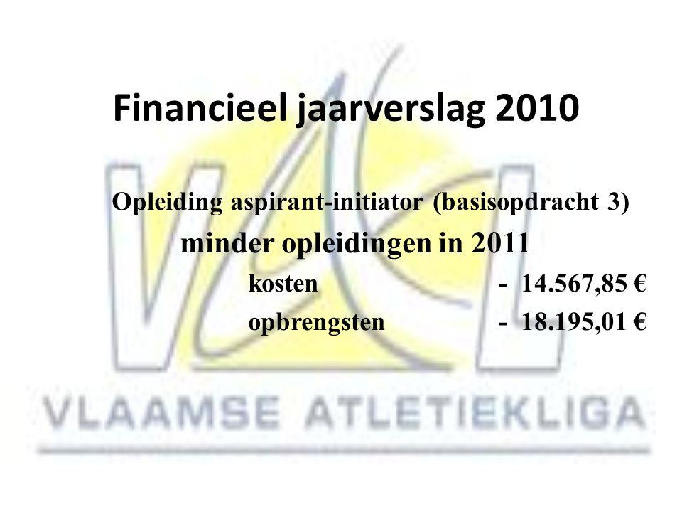 Financieel jaarverslag 2010 Opleiding aspirant-initiator (basisopdracht 3) minder opleidingen in 2011 kosten - 14.567,85 € opbrengsten - 18.195,01 €