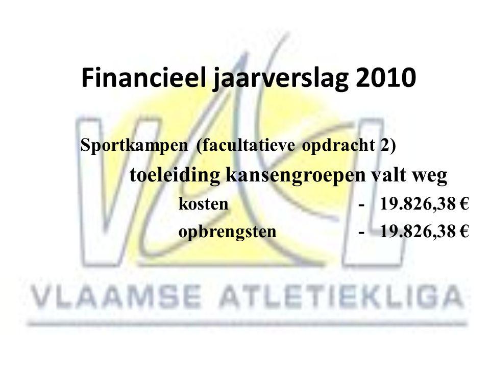 Financieel jaarverslag 2010 Sportkampen (facultatieve opdracht 2) toeleiding kansengroepen valt weg kosten - 19.826,38 € opbrengsten - 19.826,38 €