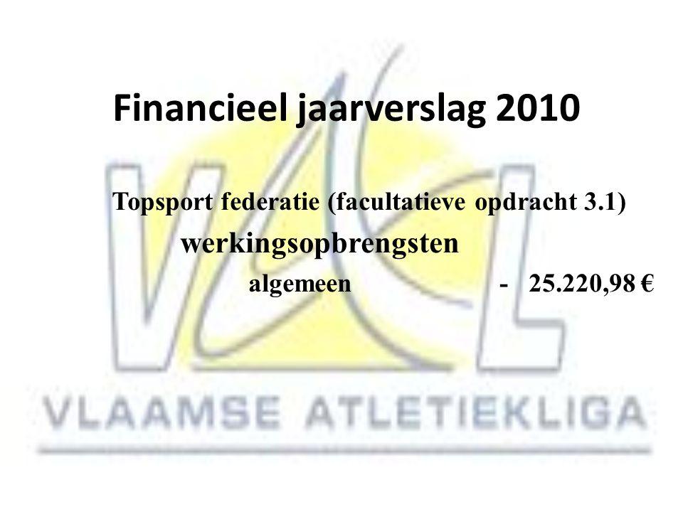 Financieel jaarverslag 2010 Topsport federatie (facultatieve opdracht 3.1) werkingsopbrengsten algemeen - 25.220,98 €