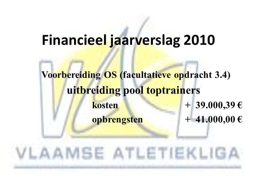 Financieel jaarverslag 2010 Voorbereiding OS (facultatieve opdracht 3.4) uitbreiding pool toptrainers kosten + 39.000,39 € opbrengsten + 41.000,00 €