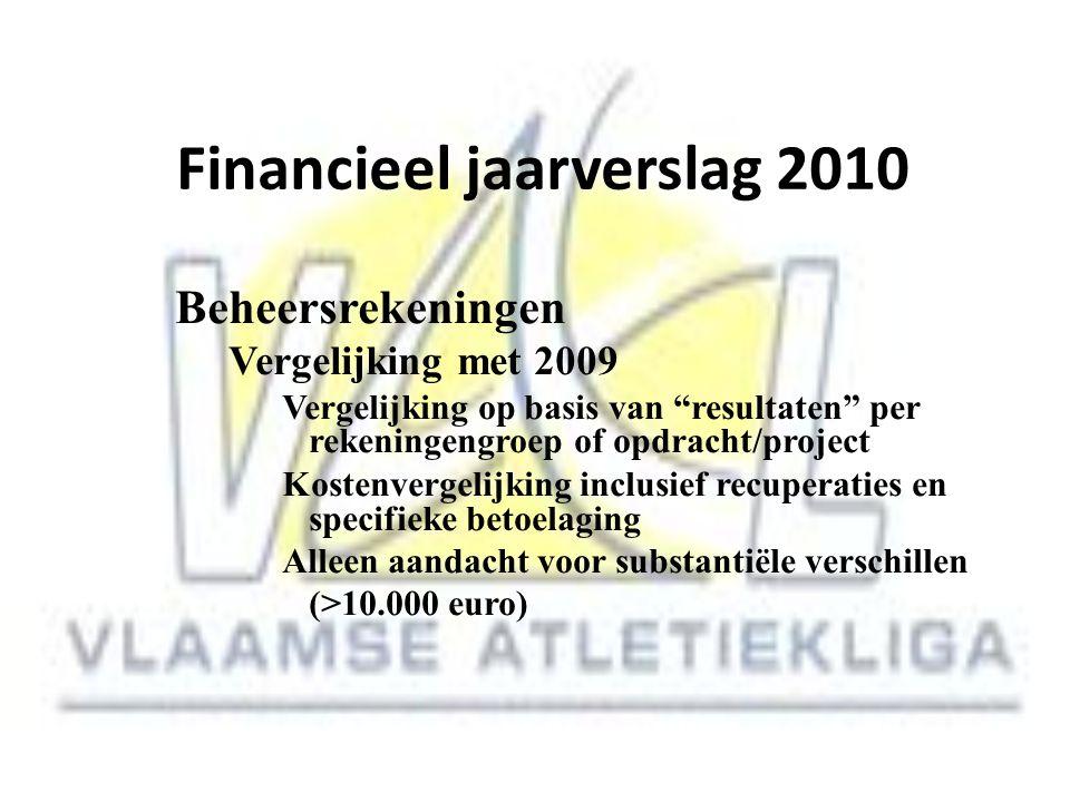 """Financieel jaarverslag 2010 Beheersrekeningen Vergelijking met 2009 Vergelijking op basis van """"resultaten"""" per rekeningengroep of opdracht/project Kos"""