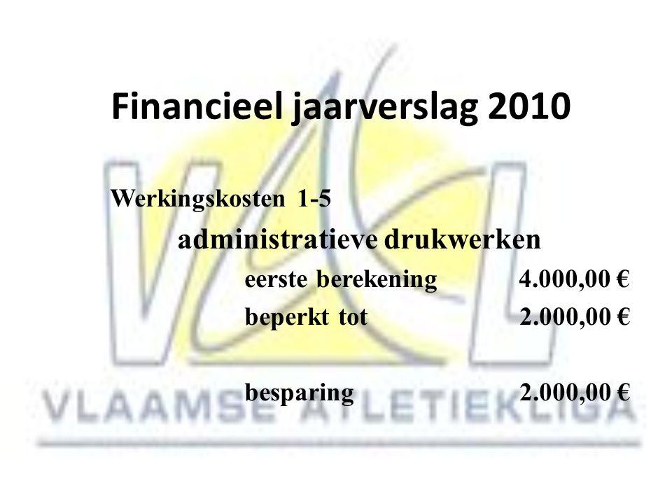 Financieel jaarverslag 2010 Werkingskosten 1-5 administratieve drukwerken eerste berekening 4.000,00 € beperkt tot 2.000,00 € besparing 2.000,00 €