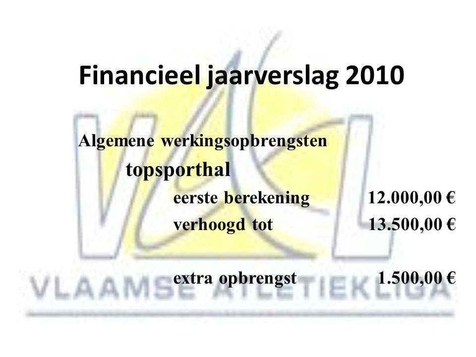 Financieel jaarverslag 2010 Algemene werkingsopbrengsten topsporthal eerste berekening 12.000,00 € verhoogd tot 13.500,00 € extra opbrengst 1.500,00 €