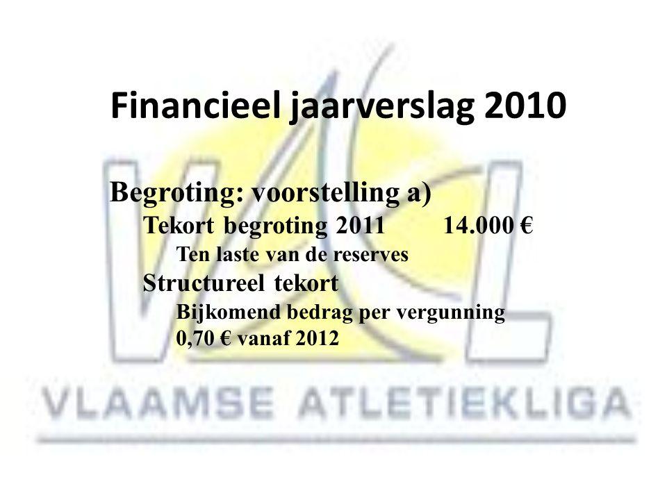 Financieel jaarverslag 2010 Begroting: voorstelling a) Tekort begroting 201114.000 € Ten laste van de reserves Structureel tekort Bijkomend bedrag per