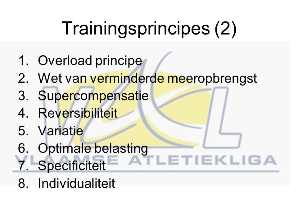 Trainingsprincipes (2) 1.Overload principe 2.Wet van verminderde meeropbrengst 3.Supercompensatie 4.Reversibiliteit 5.Variatie 6.Optimale belasting 7.Specificiteit 8.Individualiteit
