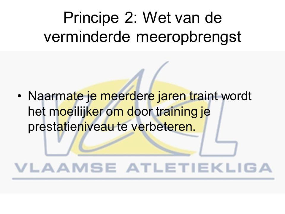 Principe 2: Wet van de verminderde meeropbrengst Naarmate je meerdere jaren traint wordt het moeilijker om door training je prestatieniveau te verbeteren.