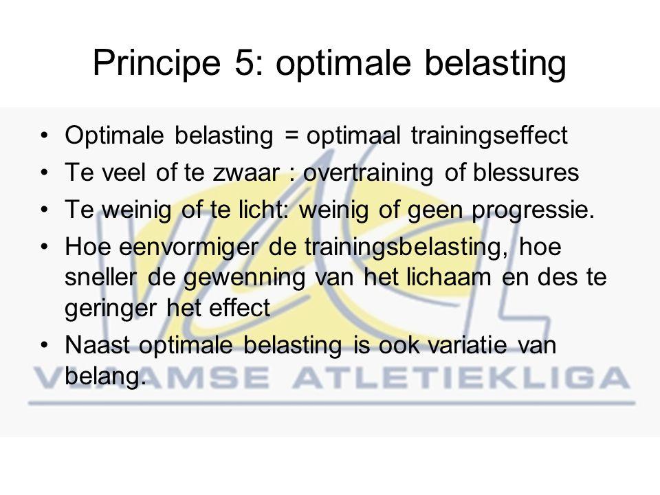Principe 5: optimale belasting Optimale belasting = optimaal trainingseffect Te veel of te zwaar : overtraining of blessures Te weinig of te licht: weinig of geen progressie.