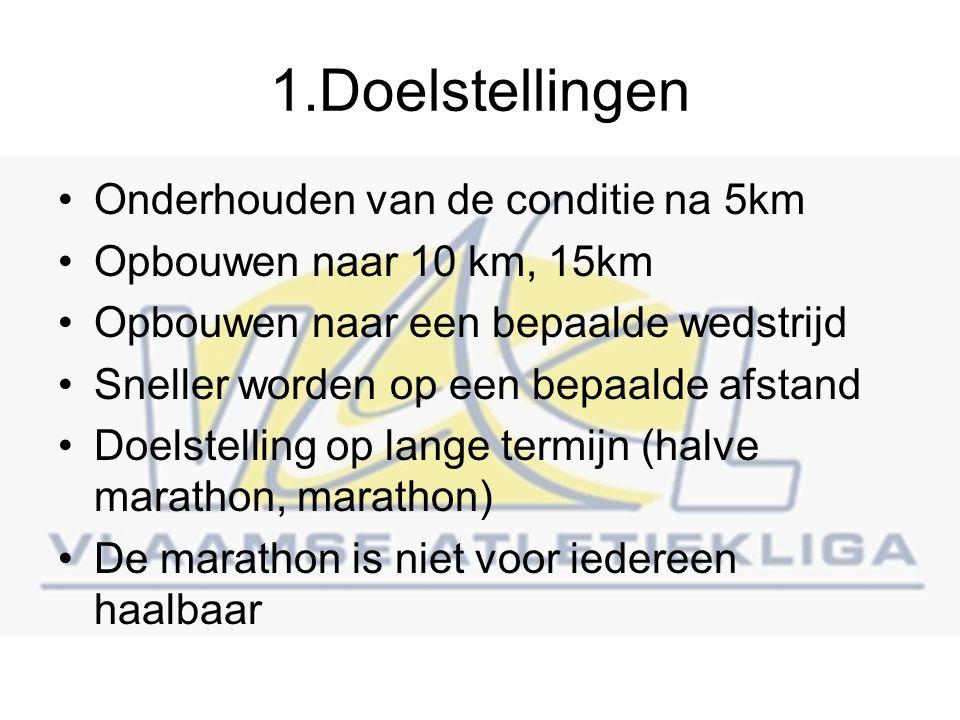 1.Doelstellingen Onderhouden van de conditie na 5km Opbouwen naar 10 km, 15km Opbouwen naar een bepaalde wedstrijd Sneller worden op een bepaalde afstand Doelstelling op lange termijn (halve marathon, marathon) De marathon is niet voor iedereen haalbaar