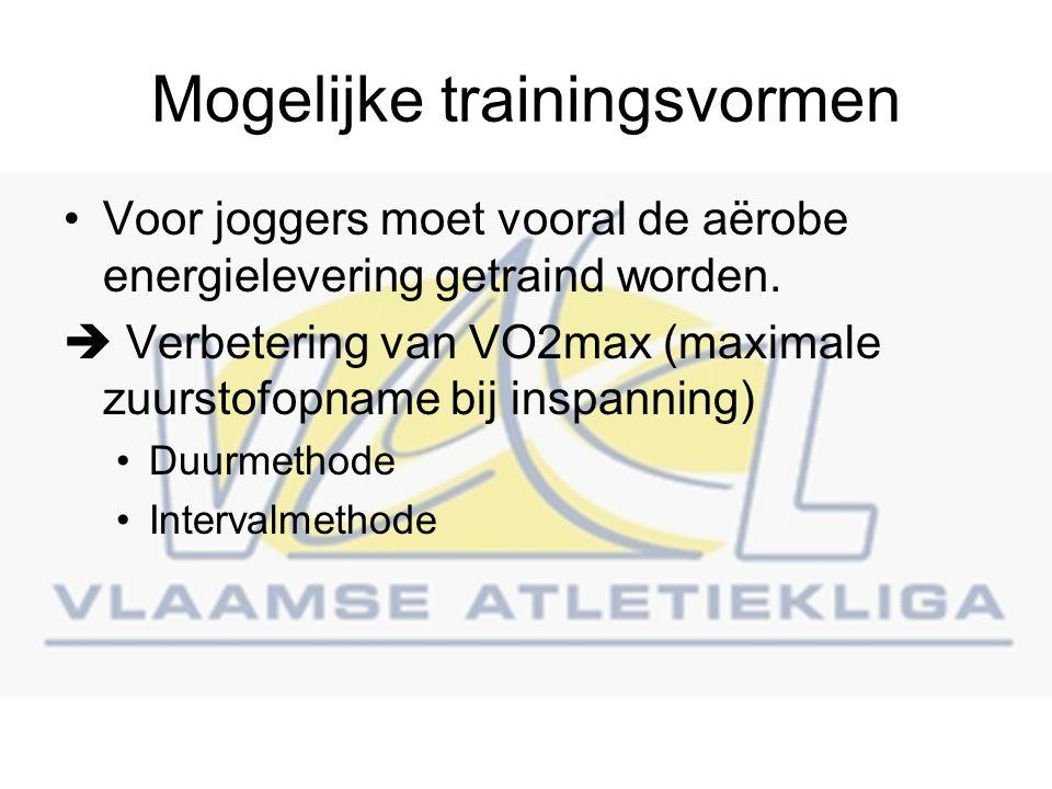 Mogelijke trainingsvormen Voor joggers moet vooral de aërobe energielevering getraind worden.