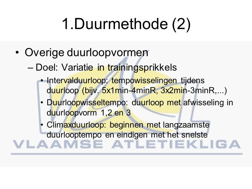 1.Duurmethode (2) Overige duurloopvormen –Doel: Variatie in trainingsprikkels Intervalduurloop: tempowisselingen tijdens duurloop (bijv.