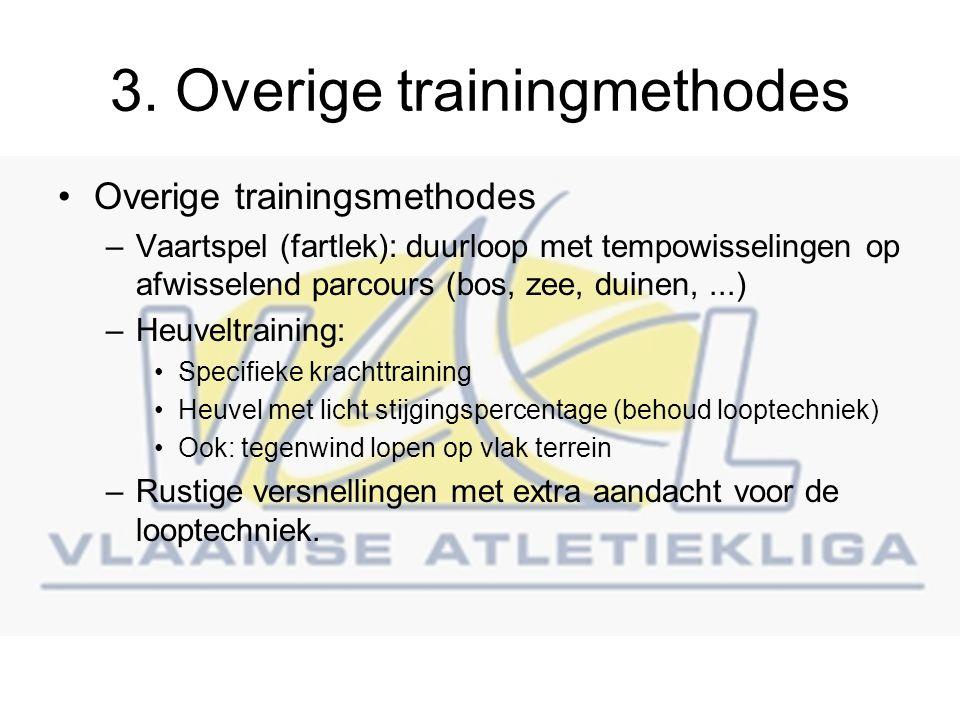 3. Overige trainingmethodes Overige trainingsmethodes –Vaartspel (fartlek): duurloop met tempowisselingen op afwisselend parcours (bos, zee, duinen,..