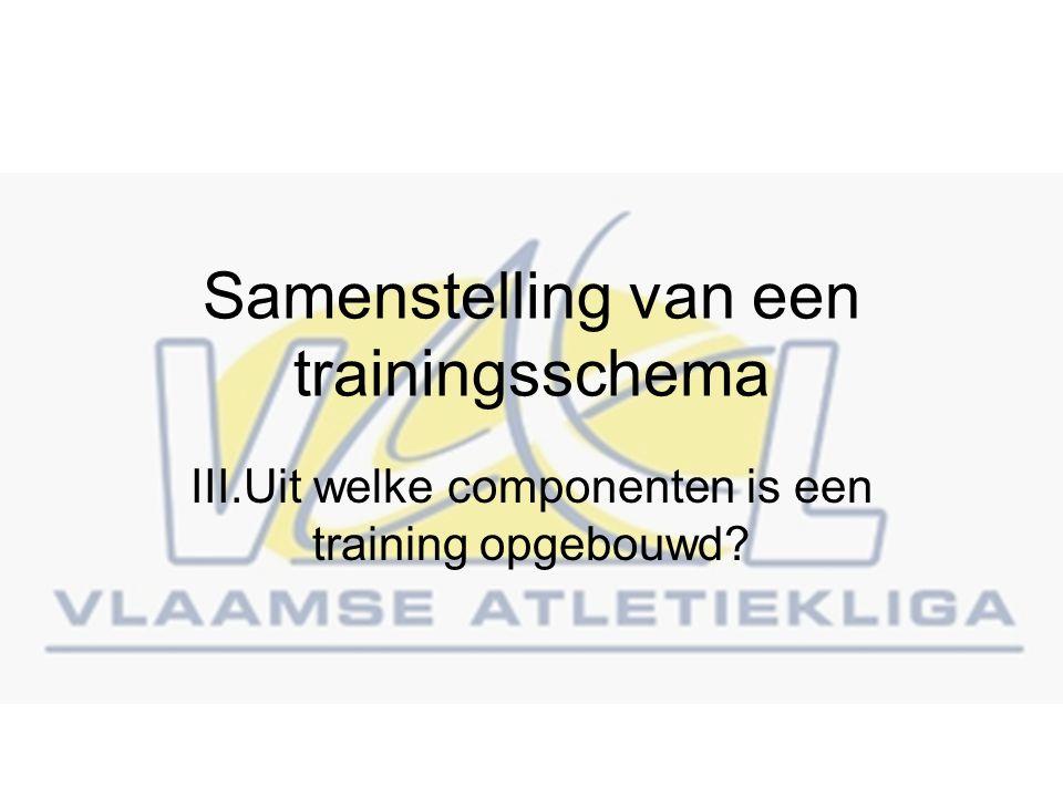 Samenstelling van een trainingsschema III.Uit welke componenten is een training opgebouwd?