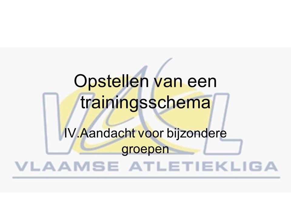 Opstellen van een trainingsschema IV.Aandacht voor bijzondere groepen