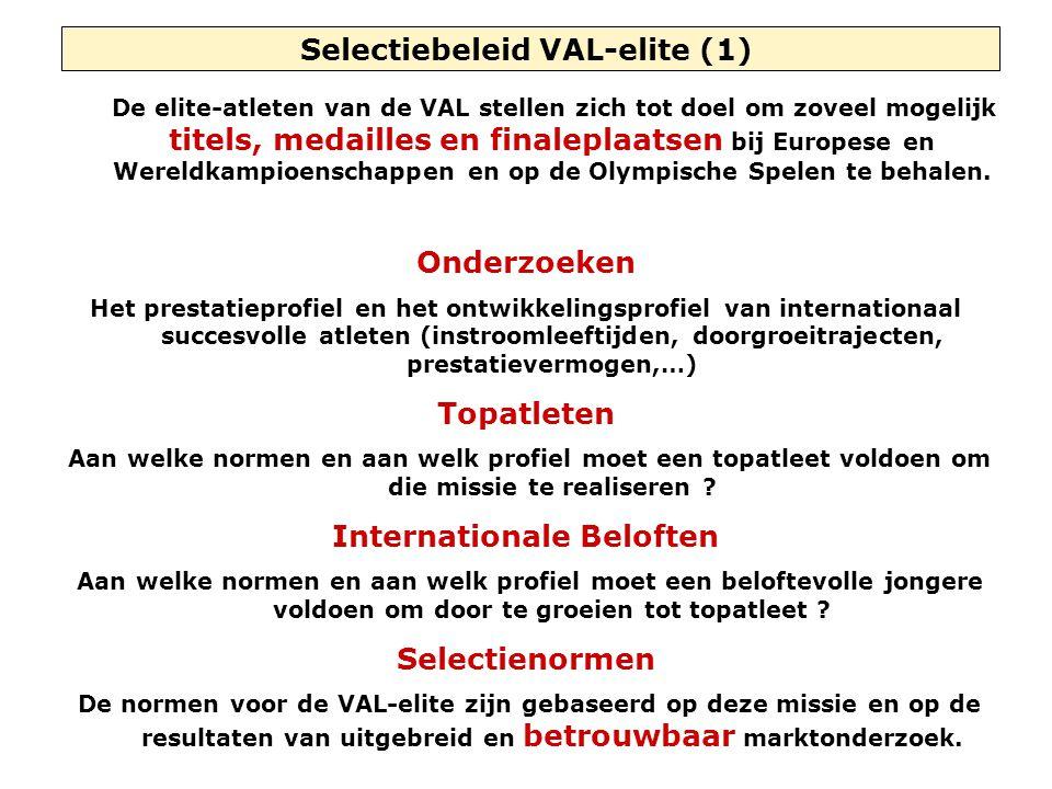 Selectiebeleid VAL-elite (1) De elite-atleten van de VAL stellen zich tot doel om zoveel mogelijk titels, medailles en finaleplaatsen bij Europese en Wereldkampioenschappen en op de Olympische Spelen te behalen.