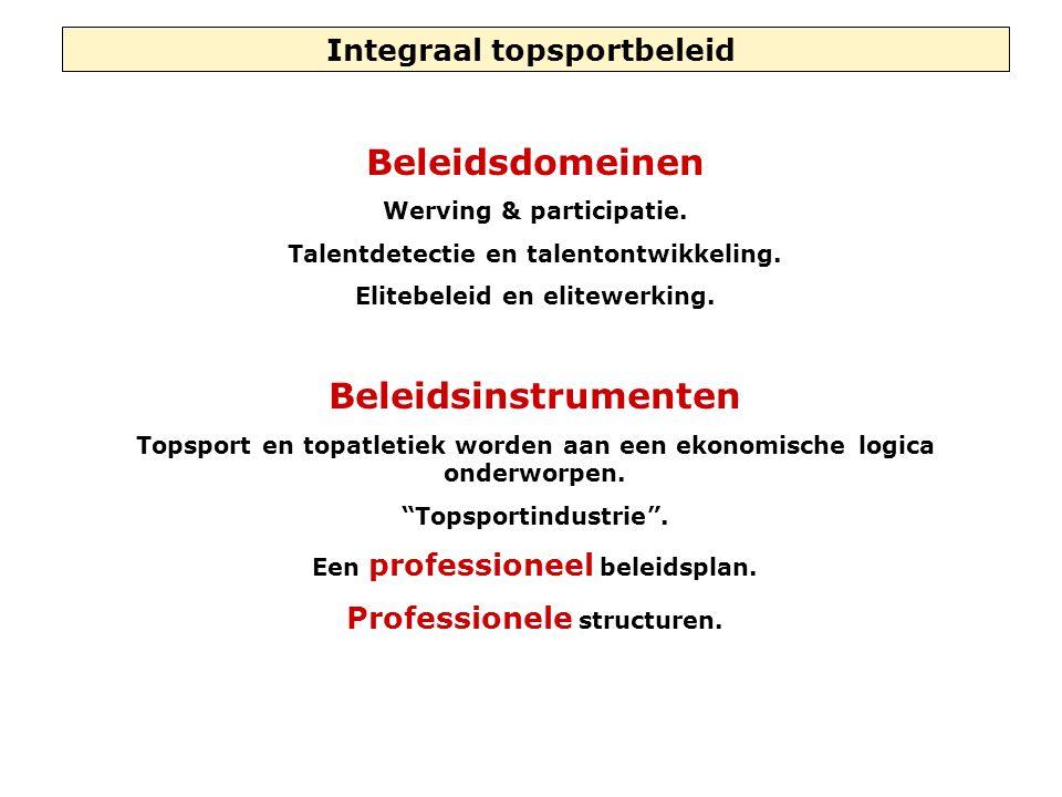 Integraal topsportbeleid Beleidsdomeinen Werving & participatie. Talentdetectie en talentontwikkeling. Elitebeleid en elitewerking. Beleidsinstrumente