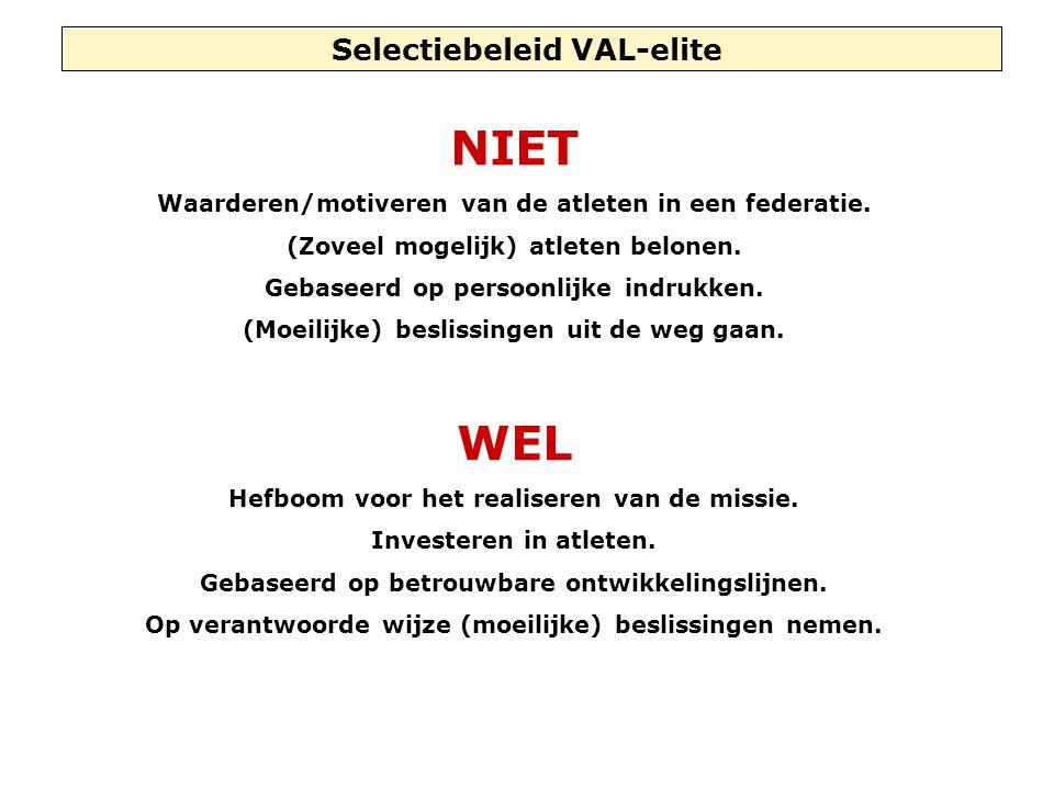 Selectiebeleid VAL-elite NIET Waarderen/motiveren van de atleten in een federatie.