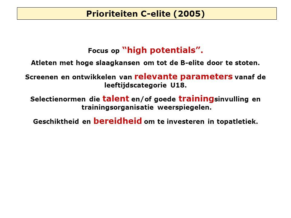 """Prioriteiten C-elite (2005) Focus op """"high potentials"""". Atleten met hoge slaagkansen om tot de B-elite door te stoten. Screenen en ontwikkelen van rel"""