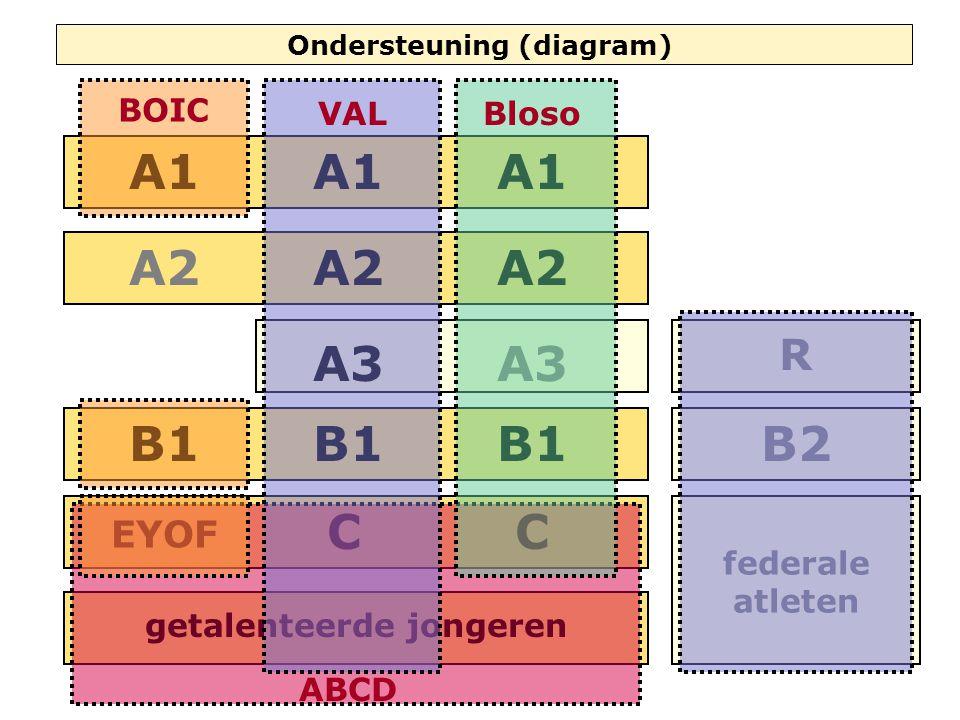 C A3 A2 A1 B1 C A3 A2 A1 Ondersteuning (diagram) getalenteerde jongeren A1 A2 B1 A3 R B2 federale atleten EYOF ABCD BOIC VALBloso