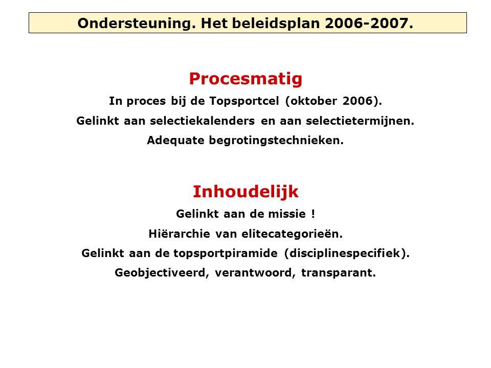Ondersteuning. Het beleidsplan 2006-2007. Procesmatig In proces bij de Topsportcel (oktober 2006). Gelinkt aan selectiekalenders en aan selectietermij
