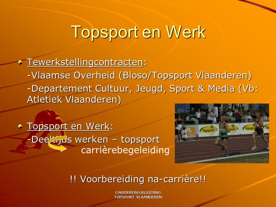 CARRIEREBEGELEIDING TOPSPORT VLAANDEREN Topsport en Werk Tewerkstellingcontracten: -Vlaamse Overheid (Bloso/Topsport Vlaanderen) -Departement Cultuur, Jeugd, Sport & Media (Vb: Atletiek Vlaanderen) Topsport en Werk: -Deeltijds werken – topsport !.